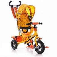Трёхколёсный детский велосипед Azimut Trike BC-17B AIR на надувных колёсах желтый