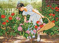 """Рисунок на ткани для вышивания бисером """"Розы алые в саду"""""""