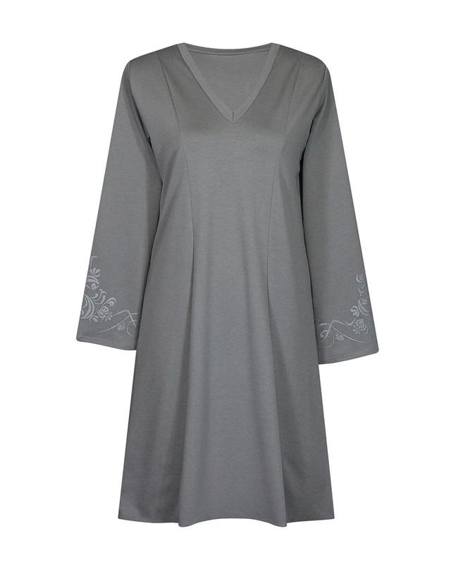 Платье с V-образным вырезом Винтаж,серое