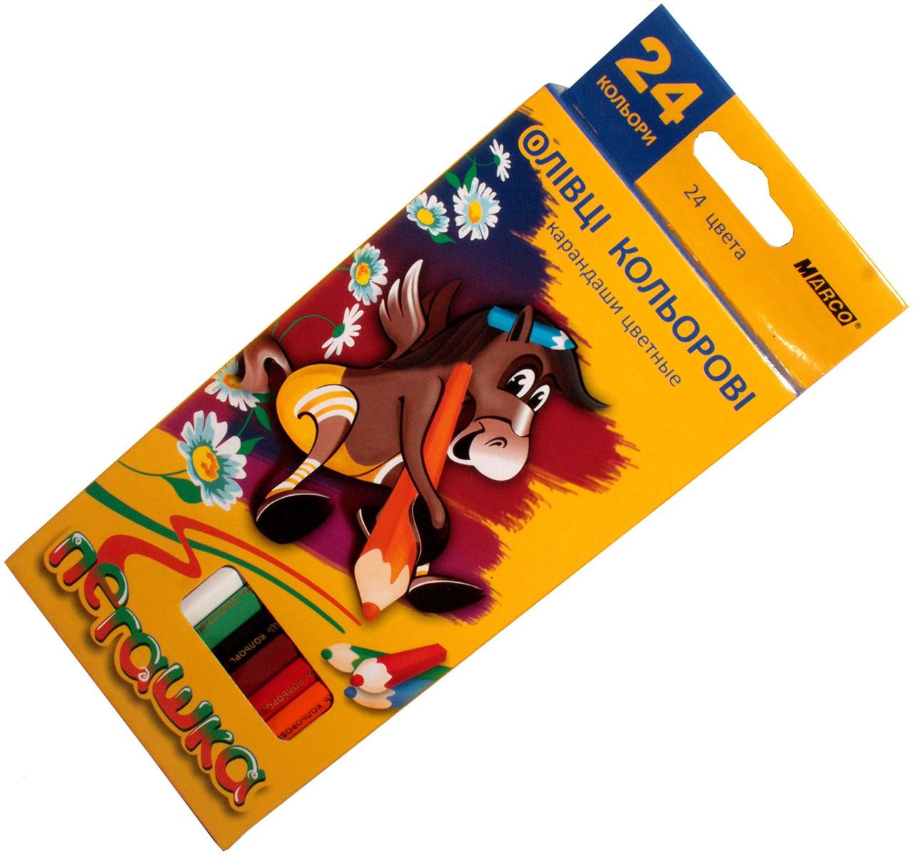Карандаши цветные Пегашка (24 цвета) для рисования