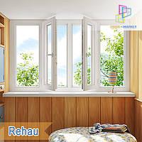 """Лоджия на 4 створки в профиле Rehau 60, Rehau 70 /3000x1450/ """"Окна Маркет"""", фото 1"""