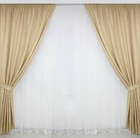Готовые  льнянные шторы в гостинную