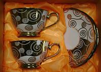 Две чашки два блюдца фарфор