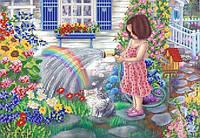 """Рисунок на ткани для вышивания бисером """"Юный садовод"""""""