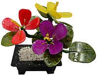 Цветы из нефрита в мраморном горшочке 130х150х60