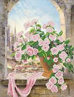"""Рисунок на ткани для вышивания бисером """"Розовая вуаль"""""""