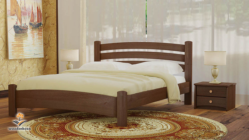 Кровать полуторная из натурального дерева WoodenBoss Милана Макси (спальное место ШхГ - 1200х2000)