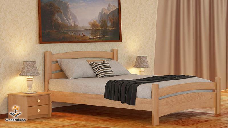 Кровать полуторная из натурального дерева WoodenBoss Милана экстра (спальное место ШхГ - 1400х1900)