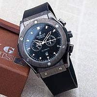 Кварцевые часы Hublot мужские черные каучуковые