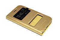 Кожаный чехол книжка для Samsung Galaxy J1 J100h золотистый