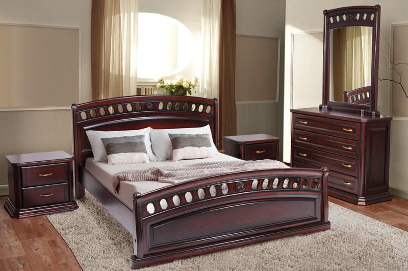 Кровать двухспальная из натурального дерева (Массив дуба) Микс Мебель Флоренция