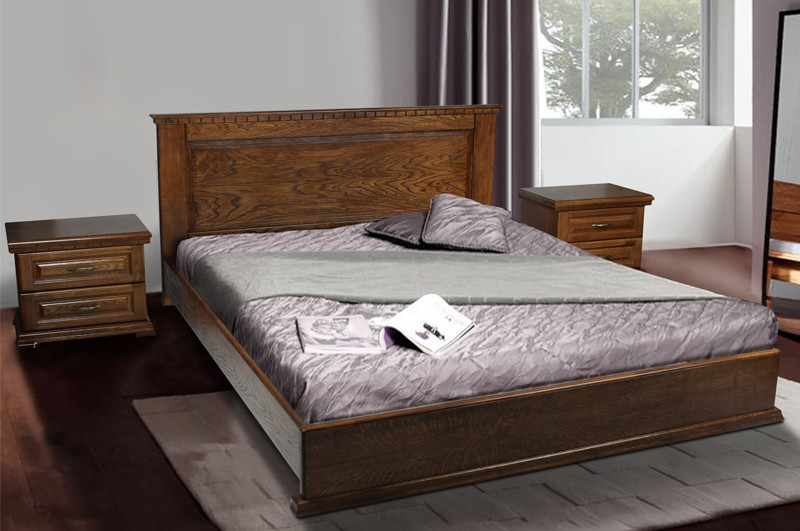 Кровать двухспальная из натурального дерева (Дуб, Орех) Микс Мебель Элит (спальное место ШхГ - 1600х2000)