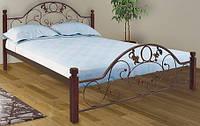 Кровать двухспальная металлическая Франческа на деревянных ножках Металл-Дизайн ШхГ - 180х200 см