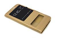 Кожаный чехол книжка для Meizu metal золотистый, фото 1