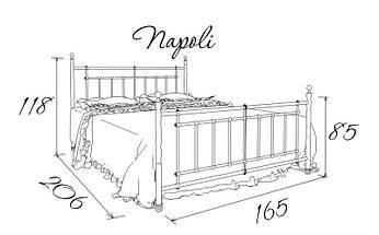 Ліжко односпальне металева Napoli / Неаполь Метал-Дизайн / Metall Design, фото 3