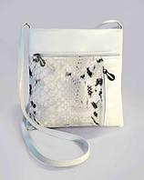 9-2бел - Женская сумка-планшет белая комбинированная