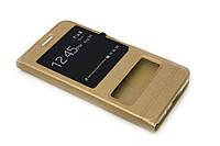 Шкіряний чохол книжка для Meizu M2 Note золотистий, фото 1