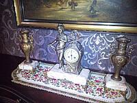 Старинные часы каминные с канделябрами