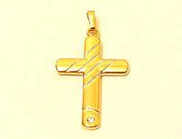 Кулон ХР крестик с камнем, позолота