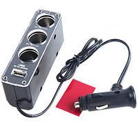 Разветвитель автоприкуривателя 1х3 +USB