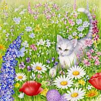 Редкие салфетки декупажные Котёнок в цветах 4672
