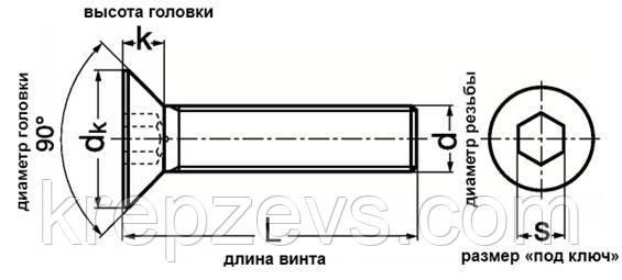 Винт м10 с потайной головкой Din 7991
