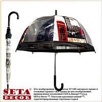 Прозрачный зонт-трость, купол Красная телефонная будка