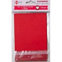 Набор красных заготовок для открыток, 10см*15см, 230г/м2, 5шт. 952276