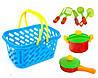 Посуда детская  в корзинке 04-435