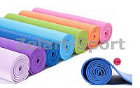 Коврик для фитнеса PVC 4 мм Yoga mat (р-р 1,73 м x 0,61 м x 4 мм, цвета в ассортименте), фото 1