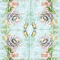 Редкая салфетка декупажная Роза и бабочка 5582