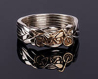 Кольцо-головоломка из серебра и золота «Байк» от Wickerring