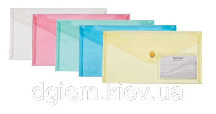 Папка-конверт на кнопке DL TRAVEL глянцевая, прозрачная