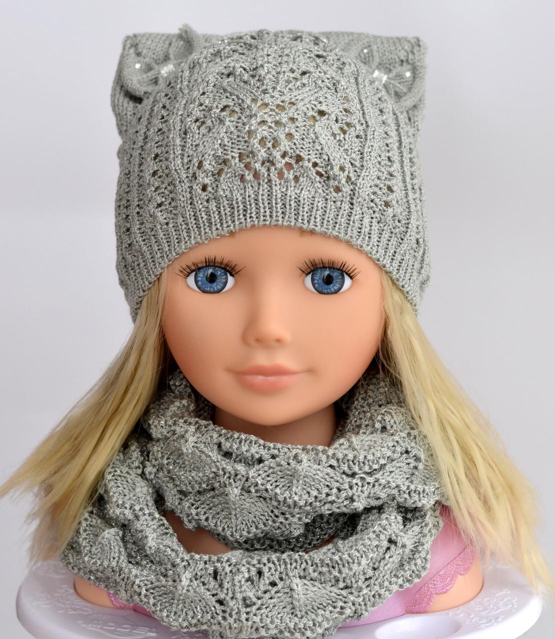 №108 Амели. Весенняя ажурная шапка для девочки 3-10 лет. р. 50-56 Есть св.серый