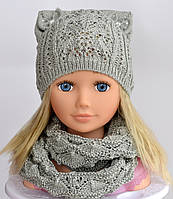 №108 Амели. Весенняя ажурная шапка для девочки 3-10 лет. р. 50-56 Есть св.серый, фото 1