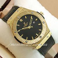 Бюджетные часы Hublot Big Bang Leather Strap Black/Gold/Black