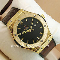 Бюджетные часы Hublot Big Bang Leather Strap Brown/Gold/Black