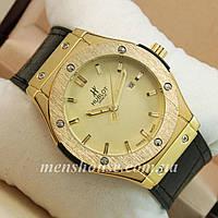 Бюджетные часы Hublot Big Bang Leather Strap Black/Gold/Gold