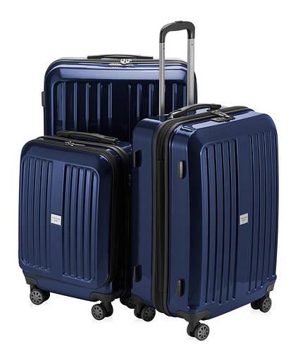 Прочный набор чемоданов из пластика HAUPTSTADTKOFFER xberg set blue синий