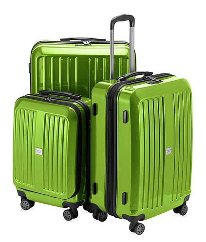 Набор дорожных пластиковых чемоданов HAUPTSTADTKOFFER xberg set apple салатовый