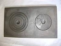 Плита чугунная 2-х конфорочная гладкая