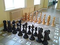Предлагаем шахматы большие, садовые из дерева.