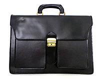 Мужской деловой портфель из натуральной кожи. Черный. Италия