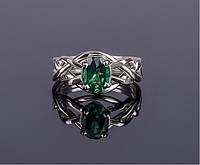 Серебряное кольцо головоломка с зеленым Топазом Wickerring