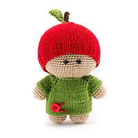 Вязаная детская игрушка ручной работы Яблочный мальчик