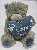 """Сувенир 016-8 игрушка мягкая """"Медведь Тедди- с сердцем джинсов"""" 21см уп4"""