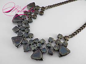 Колье с синими и  серыми камнями, фото 3