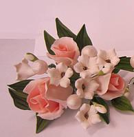 """Авторский букет""""Розы малый персиковый """" d155 см.(код 01148)"""