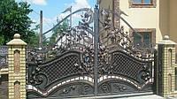 Кованые распашные ворота с калиткой, код: 01022, фото 1