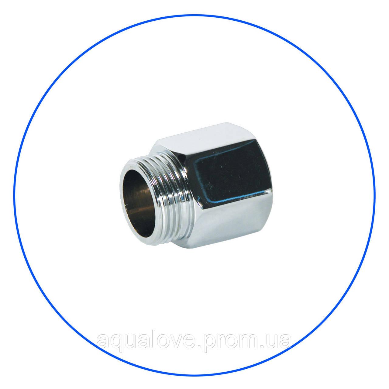 """Хромированное латунное соединение 3/4"""" РН x 3/4"""" РВ, с уплотнит. кольцом. FT02"""